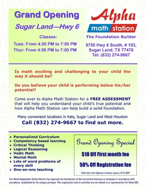 Alpha Math Station - Hwy 6 - Sugar Land, TX