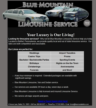 Blue Mountain Limousine Service In Bethel Pa 19507